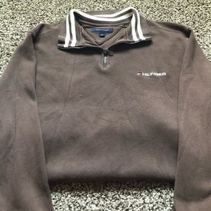Brown Tommy Hilfiger Zip-Up Sweater